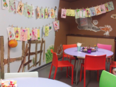 The creative room tucked away. Loved the displays and the focus on the kids work throughout.