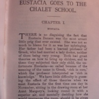 First Pages : Eustacia goes to the Chalet School by Elinor M. Brent-Dyer