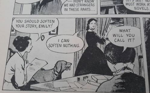 A panel from THREE SISTERS OF HAWORTH where the sisters ask Emily Bronte what she shall call her new book.