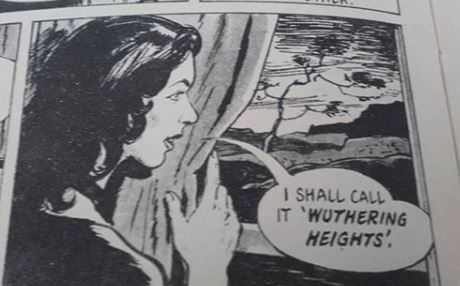 "A panel from THREE SISTER OF HAWORTH with the speech ""I shall call it 'Wuthering Heights'"""