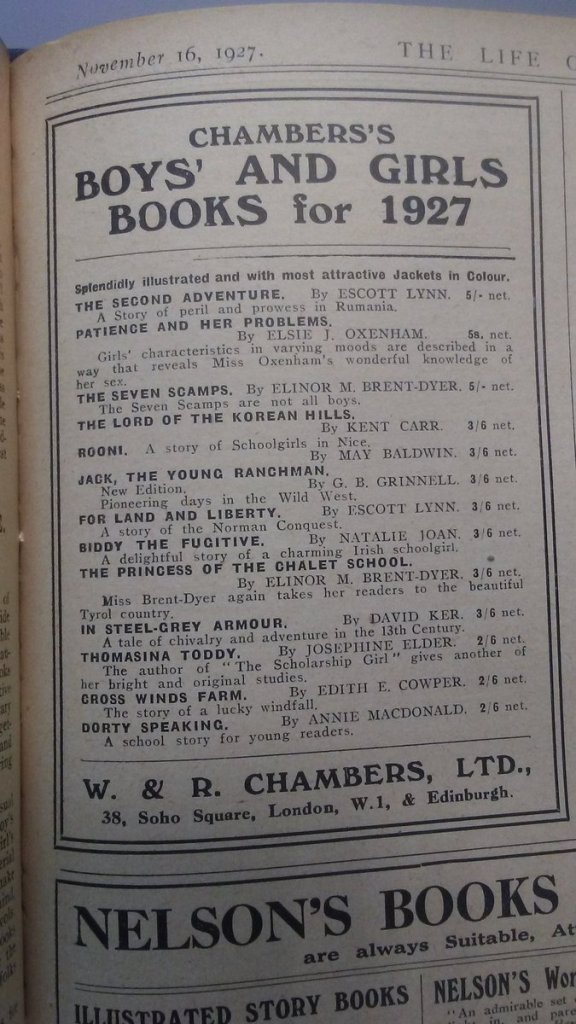 A 1927 advert for books from WR Chambers.