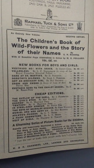 A 1927 advertisement for new books from WR Chambers.