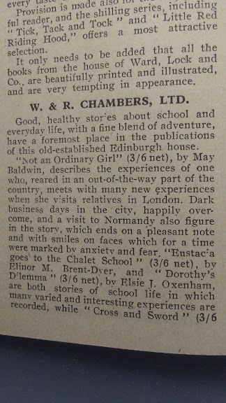 A 1930 editorial for new books from WR Chambers.
