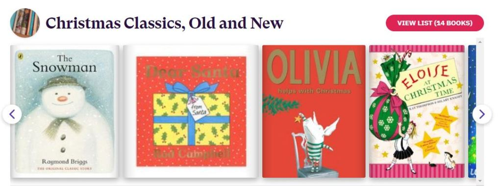 Several book covers with the caption 'Christmas Classics, Old and New'